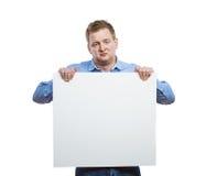 Homme avec le panneau vide de signe Photos stock