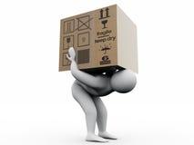 Homme avec le paperbox Photo stock