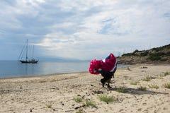 Homme avec le parachute Photographie stock libre de droits