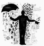 Homme avec le parapluie Images libres de droits