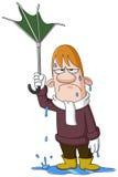 Homme avec le parapluie cassé illustration de vecteur