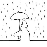 Homme avec le parapluie sous la pluie Photographie stock libre de droits