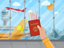 Homme avec le passeport et billet à l'intérieur d'aéroport illustration libre de droits