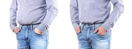 Homme avec le poids excessif Avant et après pesez la perte images stock