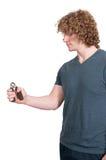Homme avec le programme test de poignée de main Photos stock