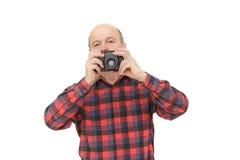 Homme avec le rétro appareil-photo de photo photo stock