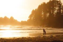 Homme avec le ressac marchant sur la la plage avec la forêt derrière tandis que coucher du soleil Image stock