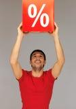 Homme avec le signe de pour cent Photos libres de droits