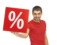 Homme avec le signe de pour cent Images stock