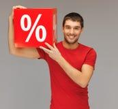 Homme avec le signe de pour cent Photo stock