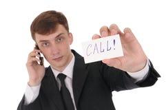 Homme avec le téléphone Photo libre de droits