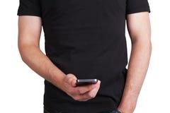 Homme avec le téléphone mobile Images libres de droits