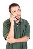 Homme avec le téléphone portable Images stock
