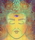 Homme avec le troisième oeil, sens surnaturels psychiques Images stock