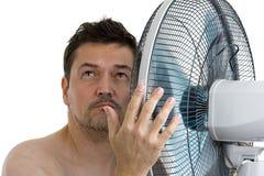 Homme avec le ventilateur image libre de droits