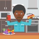 Homme avec les aliments de préparation rapide illustration de vecteur