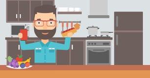 Homme avec les aliments de préparation rapide illustration libre de droits