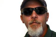 Homme avec les lunettes de soleil et la barbichette Image libre de droits