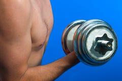 Homme avec les poids libres Image stock