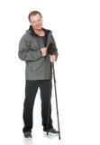 Homme avec les poteaux de marche de nordic Image stock