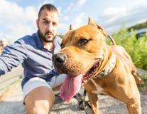 Homme avec son chien au parc Images stock