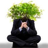 Homme avec un arbre sur la tête Photographie stock libre de droits