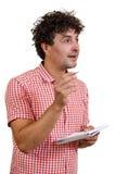 Homme avec un crayon et un cahier Photo libre de droits