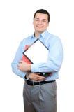 Homme avec un dépliant et une planchette images libres de droits