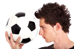 Homme avec un football Image stock