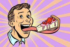 Homme avec un gâteau dans une languette longue illustration de vecteur