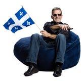 Homme avec un indicateur du Québec Images libres de droits