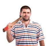 Homme avec un marteau Image stock