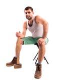 Homme avec un marteau Photo stock
