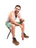 Homme avec un marteau Photos stock