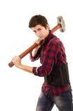 Homme avec un marteau de forgeron Photos libres de droits