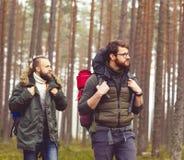 Homme avec un sac à dos et une barbe et son ami dans la forêt Images stock