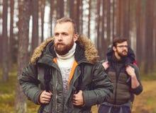 Homme avec un sac à dos et une barbe et son ami dans la forêt Image libre de droits