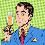Homme avec un verre de pain grillé de vacances de date de champagne Photo stock