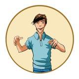 Homme avec une expression intense et des mains augmentées Photos libres de droits