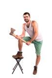 Homme avec une hache Photo stock