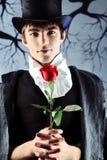 Homme avec une rose Images libres de droits