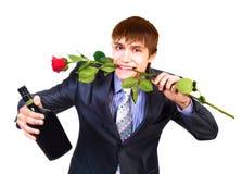 Homme avec une rose photo libre de droits