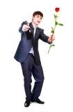 Homme avec une rose photo stock