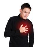Homme ayant une crise cardiaque, le coeur brisé photo stock