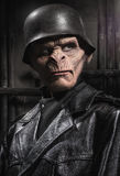 Homme baboonish fâché dans des vêtements noirs Images stock