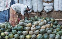 Homme bangladais vendant le potiron au marché image stock
