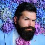 Homme barbu Été Hippie caucasien brutal avec la moustache mâle avec des fleurs d'hortensia Ressort le jour des femmes mûr image libre de droits