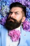 Homme barbu Été Hippie mûr avec la barbe Cheveux et peau sains Hippie caucasien brutal avec la moustache mâle image libre de droits