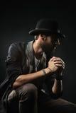 Homme barbu dans un chapeau Photo libre de droits
