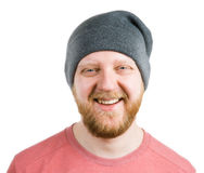 Homme barbu dans un chapeau tricoté images libres de droits
